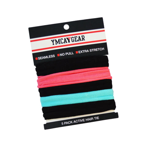 YMCA 5 Pack Active Hair Tie - Box of 24