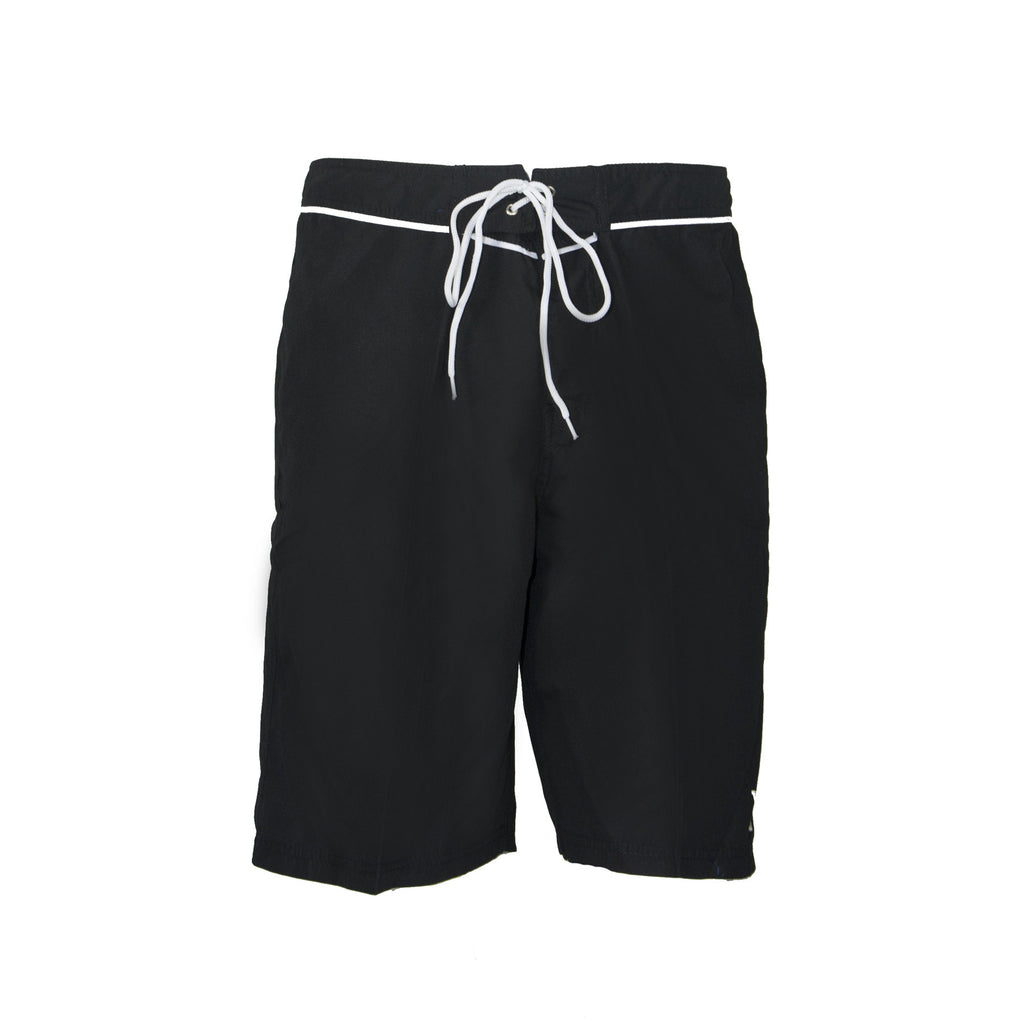 Mens Piped Boardshort - Black/White