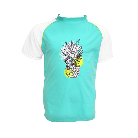 Youth Girls Pineapple Splash Short Sleeve Rash Vest