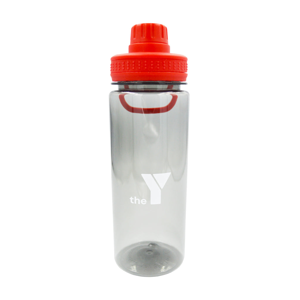 Y Clear Water Bottle with Handle - Red