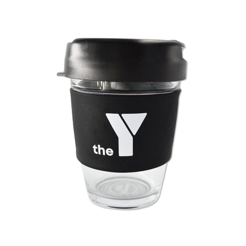 Y Re-Useable Clear Glass Coffee Cup - Black