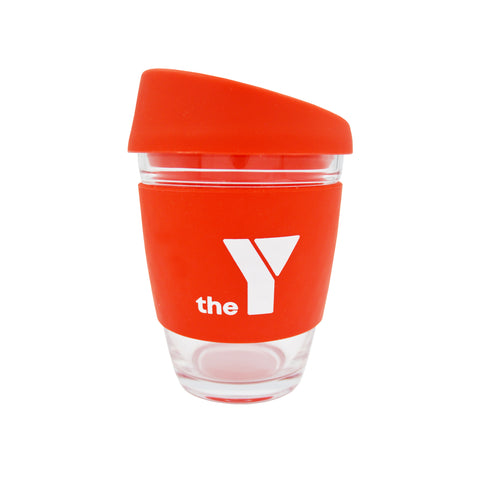 Y Re-Useable Clear Glass Coffee Cup - Red