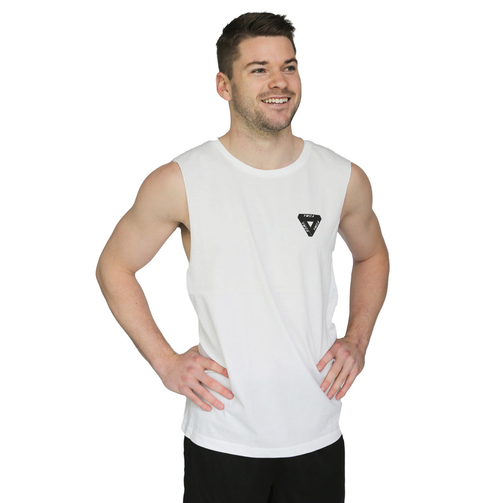 Mens Pentrose Muscle Tank - White