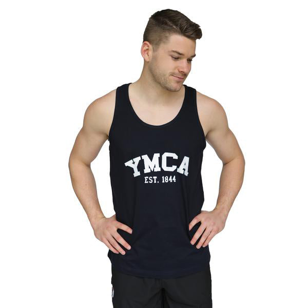 Mens Signature Tank - Navy (White YMCA Print)