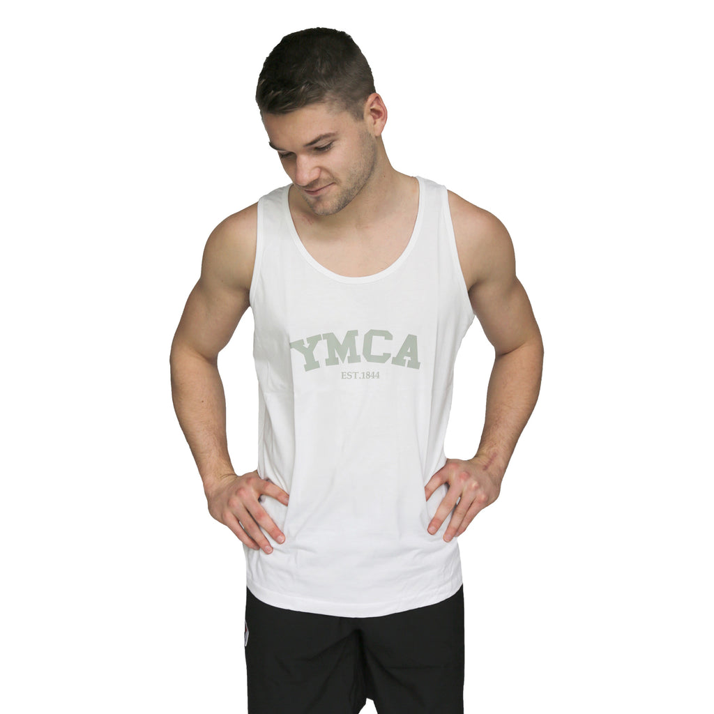 Mens Signature Tank - White (Grey YMCA Print)