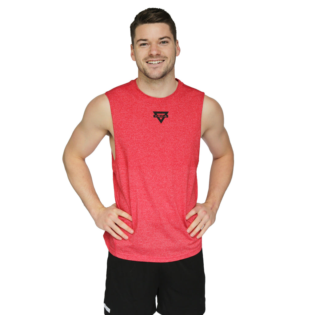 Mens Triangle Active Muscle Tank - Red
