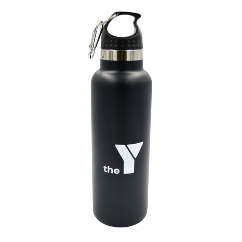 Y Insulated Stainless Steel Drink Bottle - Black - Carabiner Lid