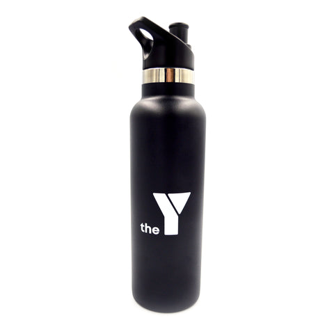 Y Insulated Stainless Steel Drink Bottle - Black - Sipper Lid