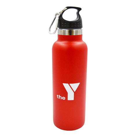 Y Insulated Stainless Steel Drink Bottle - Red - Carabiner Lid