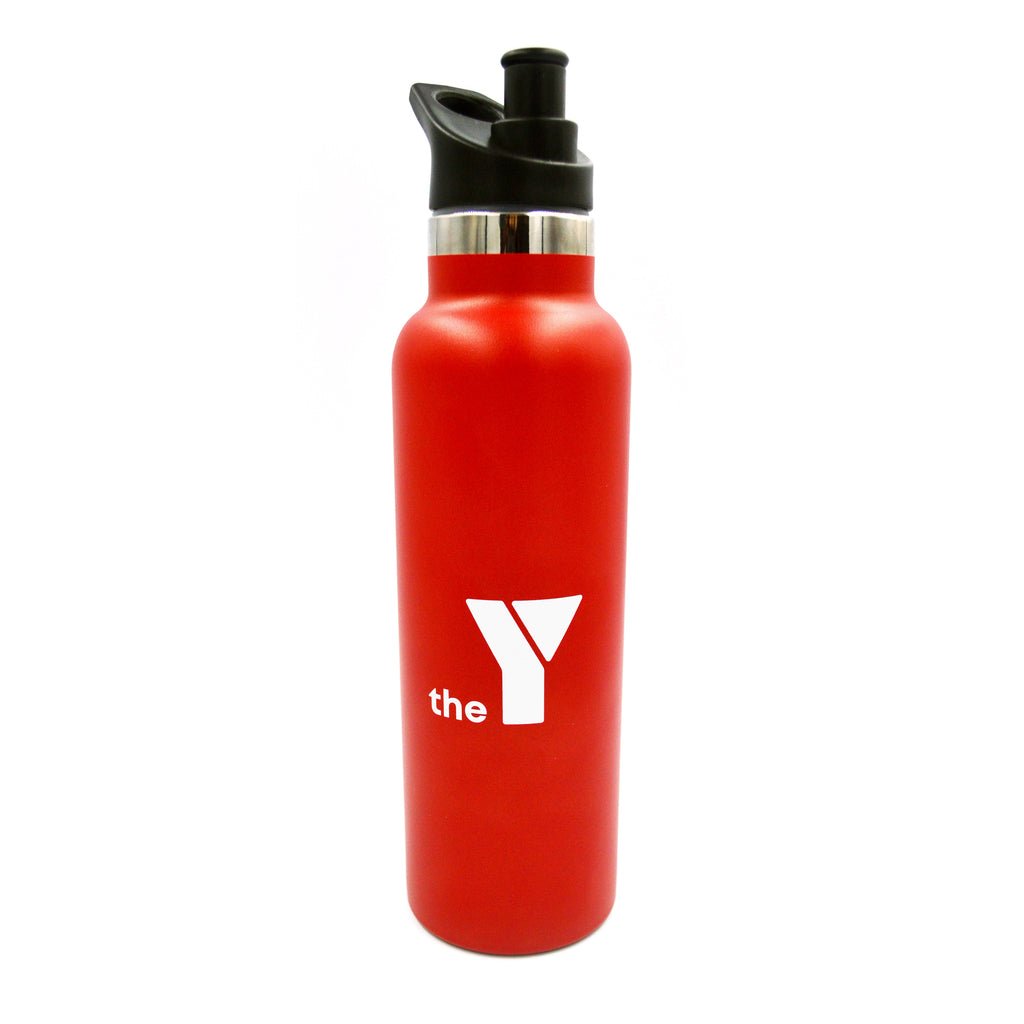 Y Insulated Stainless Steel Drink Bottle - Red - Sipper Lid