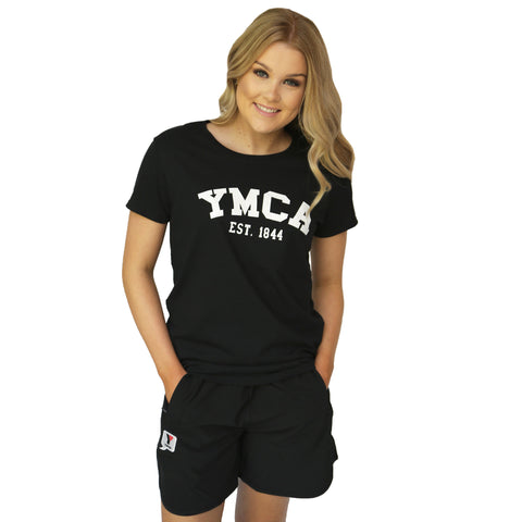 Womens Signature Tee  - Black (White YMCA Print)