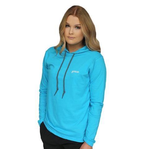 YMCA Womens Lightweight Hooded Tee  - Caribbean Blue