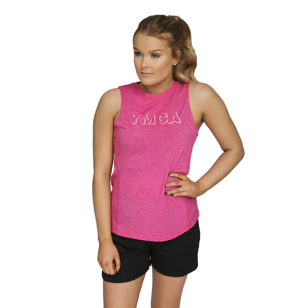 Womens Shadow Active Tank - Hot Pink