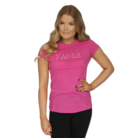 Womens Shadow Active Tee - Hot Pink