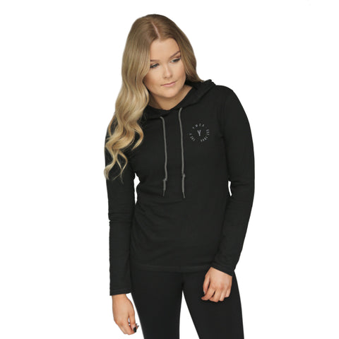 Womens Stamp Lightweight Hoodie - Black