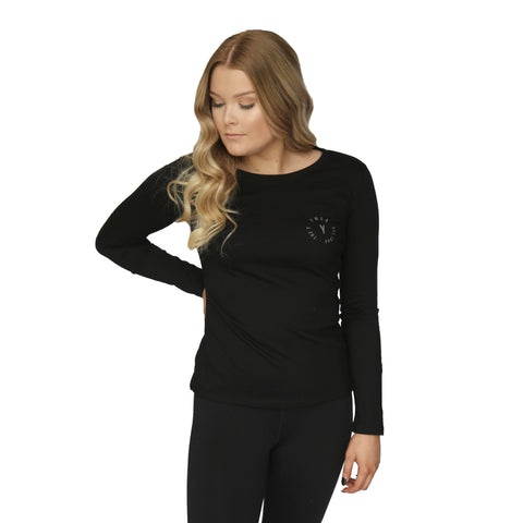 Womens Stamp Long Sleeve Tee - Black