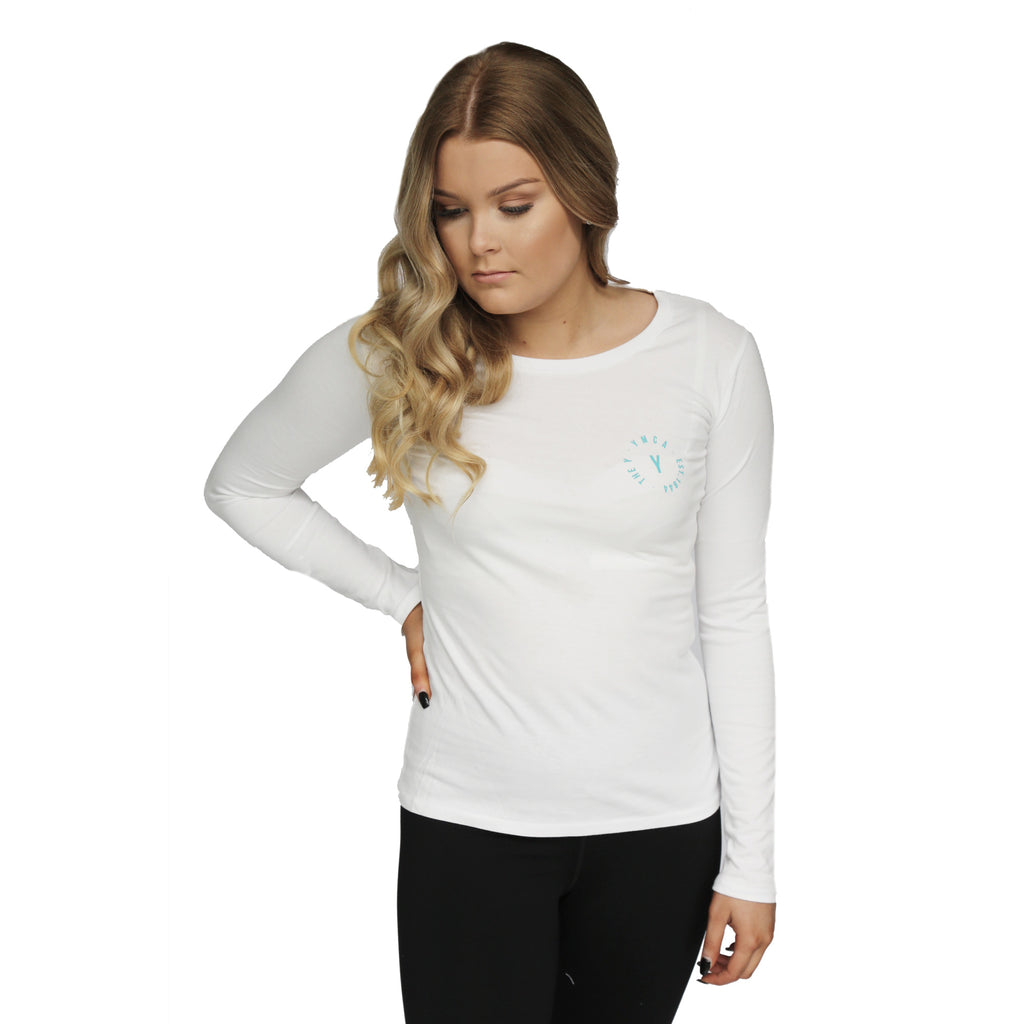 Womens Stamp Long Sleeve Tee - White