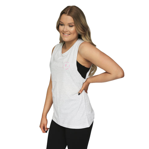 Womens Stamp Muscle Tank - Light Heather