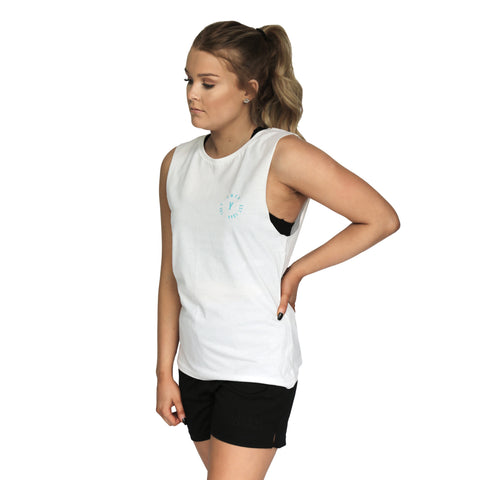 Womens Stamp Muscle Tank - White