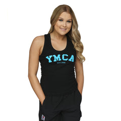 Womens Signature Tank - Black (Blue YMCA Print)