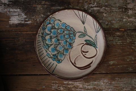 blue flower lunch plate