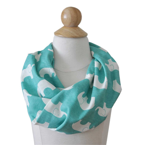 Infinity Scarf | Organic Cotton | Blue Elephants