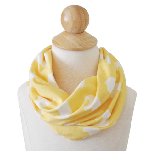 Infinity Scarf | Organic Cotton | Yellow Elephants