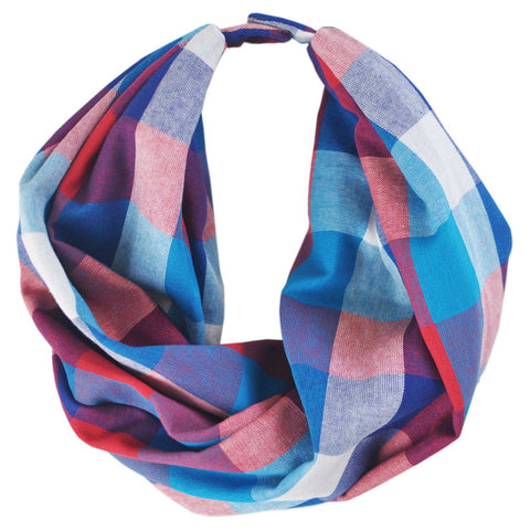 Infinity Scarf | Plaid Blue & Red