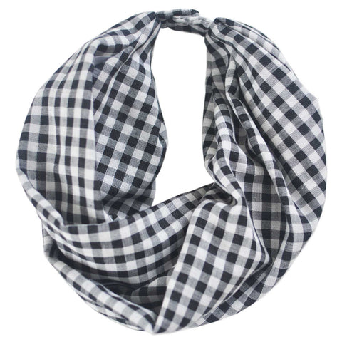 Infinity Scarf | Black & White Gingham