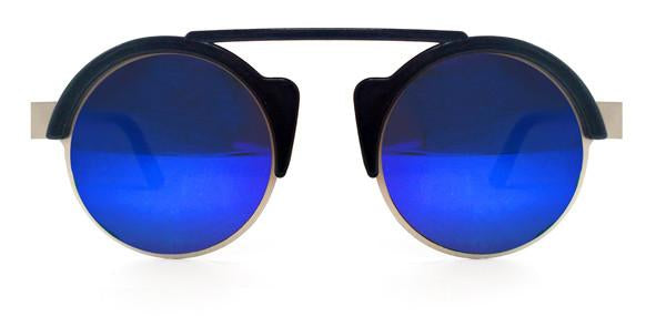 Off World Black Silver Frame Blue Mirror Lens