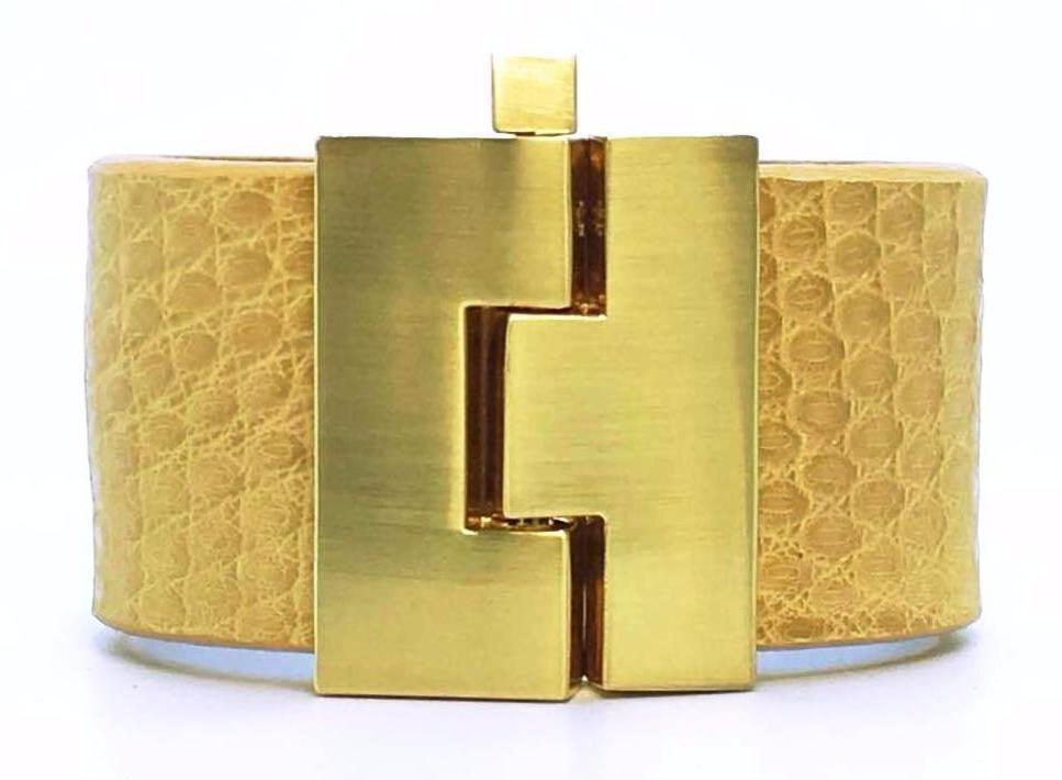SALE Wide Toast Lizard Jigsaw Cuff
