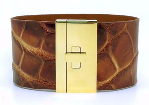Wide Turnlock Cuff Rust Crocodile