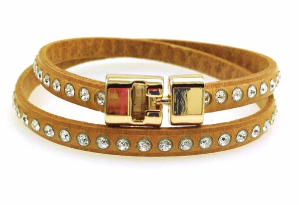 Double T-Bar Bracelet Natural Crystal Leather