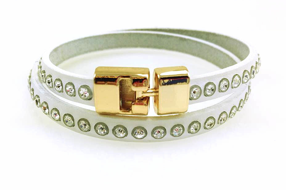 Double T-Bar Bracelet White Crystal Leather