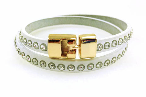 Sale Double T-Bar Bracelet White Crystal Leather