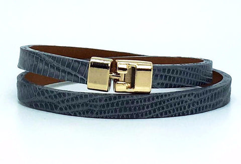 Double T-Bar Bracelet Grey Lizard