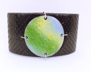 Key Lime on Black Anaconda Narrow Enamel Cuff