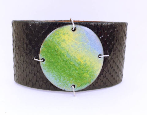 SALE-  Key Lime on Black Anaconda Narrow Enamel Cuff