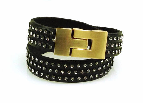 Double Jigsaw Bracelet Black Leather Crystal