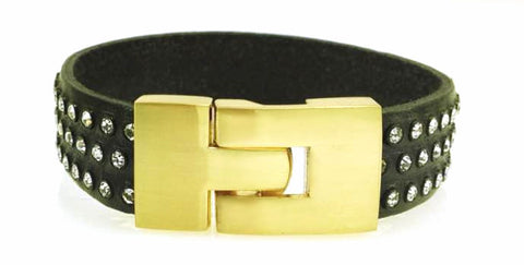 Sale Single Jigsaw Bracelet Black Leather Crystal