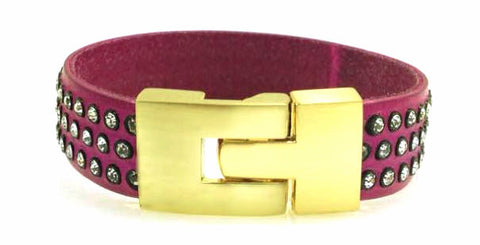 Sale Single Jigsaw Bracelet Fuchsia Leather Crystal