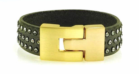 Sale Single Jigsaw Bracelet Grey Leather Crystal