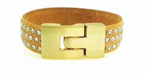Sale Single Jigsaw Bracelet Natural Leather Crystal
