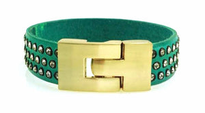 Single Jigsaw Bracelet Turquoise Leather Crystal