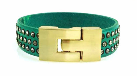 Sale Single Jigsaw Bracelet Turquoise Leather Crystal