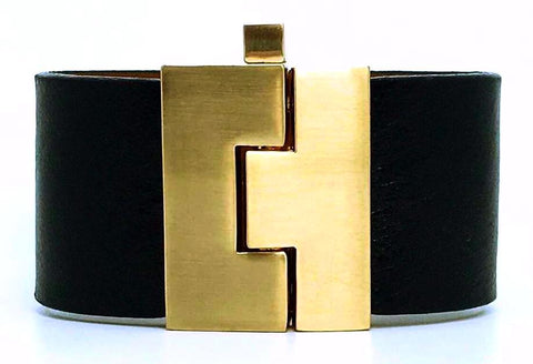 Wide Black Leather Jigsaw Cuff