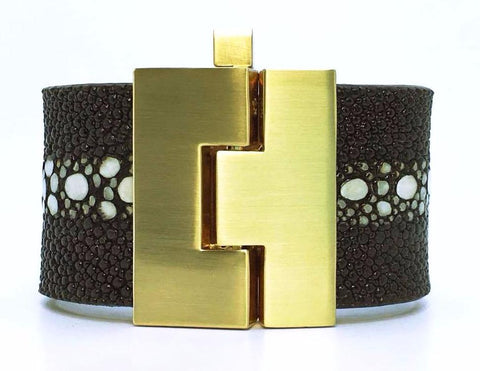 SALE Wide Chocolate Multi-Spine Stingray Jigsaw Cuff