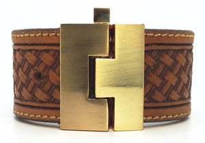 Wide Vintage Belt Jigsaw Cuff