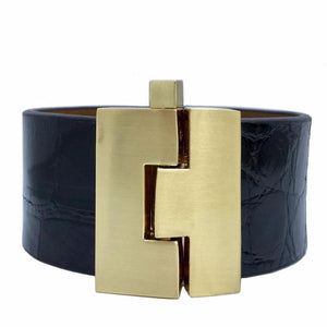 Wide Black Crocodile Jigsaw Cuff