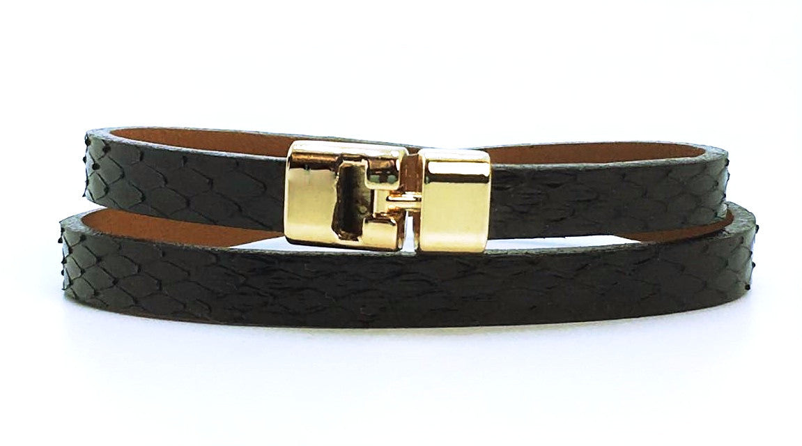 Double T-Bar Bracelet Black Anaconda